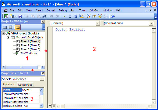 Three windows in the Visual Basic Editor for Excel